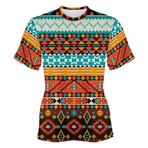 tribal pattern t shirt geometric aqua orange tribal pattern sublimation womans t