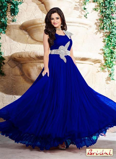 Blue Satin Stone Work Designer Gown