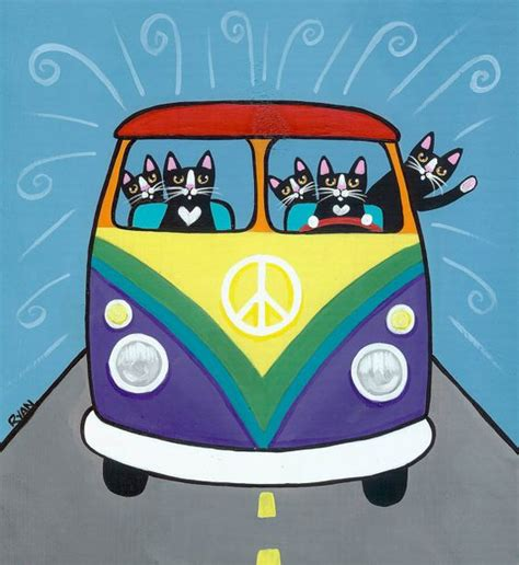 volkswagen painting rainbow vw peace original cat folk painting folk