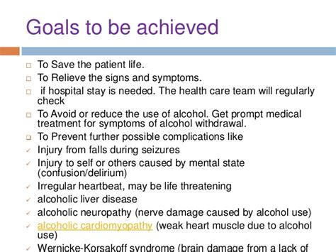 Treatment Goals For Detox Patient by Withdrawal Delirium By Mj