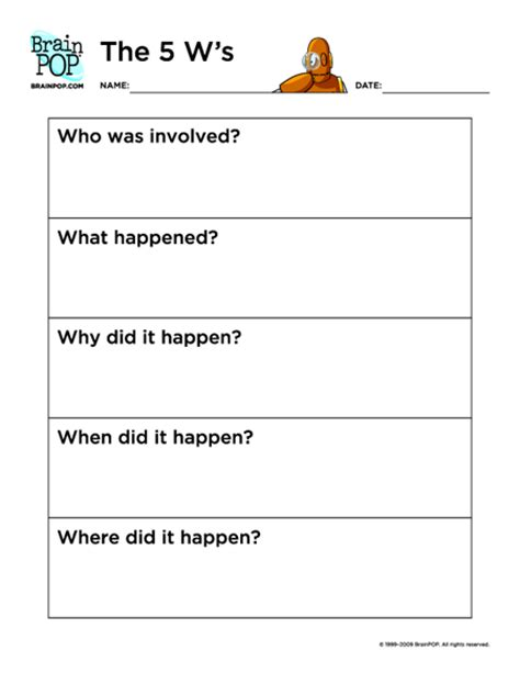five w questions worksheet the 5 w s brainpop educators