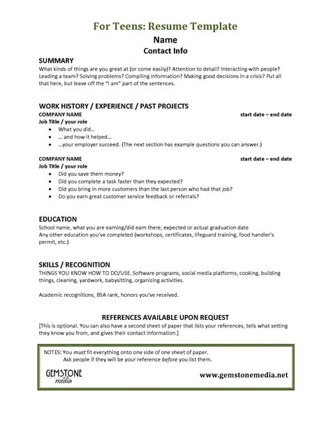 resume template for teenagers helps gemstone media