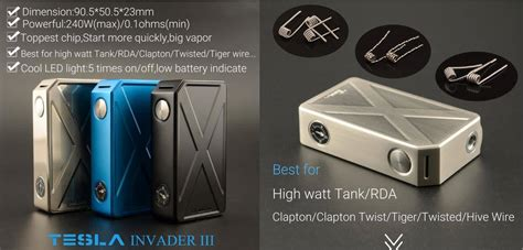 Tesla Invader Iii Tesla Invader 3 Authentic 1 box mods that are 200w olympia vapor works