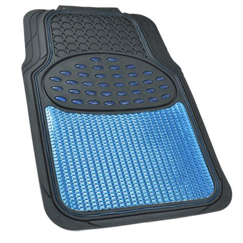 Metallic Car Mats by Aluminum Metallic Trimmable Rubber Car Floor Mat Blue Black Heavy Duty 4pc Bdk
