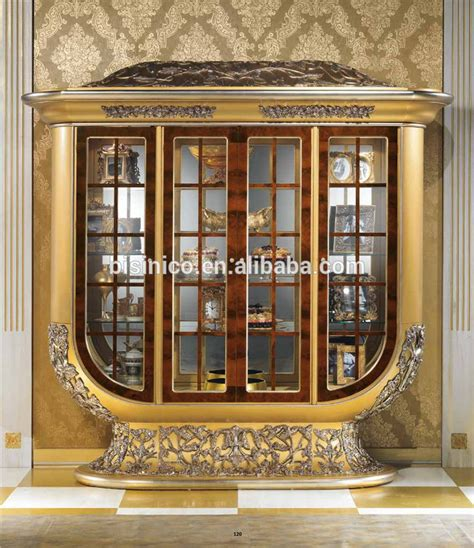 luxurious wooden carving showcase cabinet using clear antique italian brass mounted four doors display cabinet