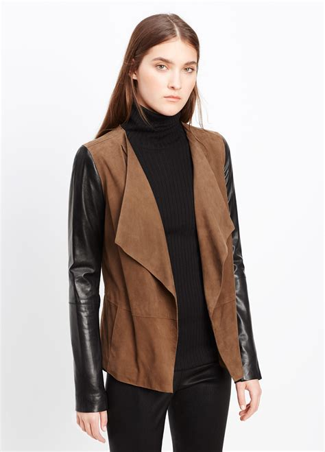 drape front jacket vince suede blocked drape front jacket in brown oak black