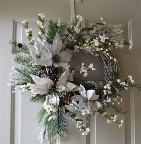 silver white christmas wreath winter wreath winter wreath