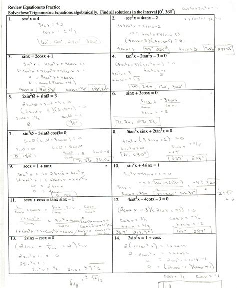 Verifying Inverses Worksheet by Trigonometry Worksheets With Answers Worksheets Tutsstar