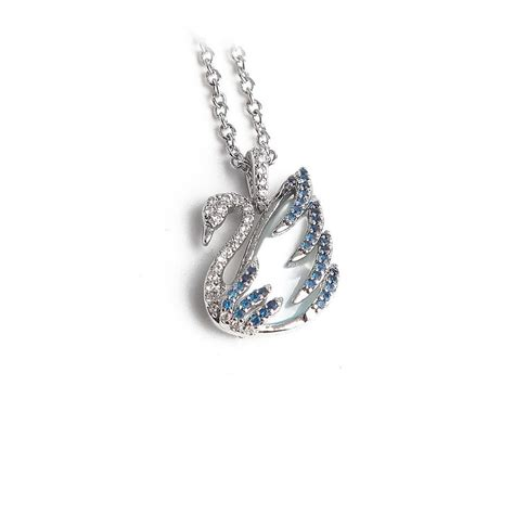 16 4 New Bag Swarovsky Ag005831 swarovski blue new swan pendant of pearl crystals necklace tradesy