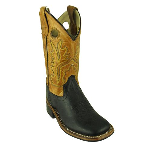 west bsc1810 black leather square toe western boots