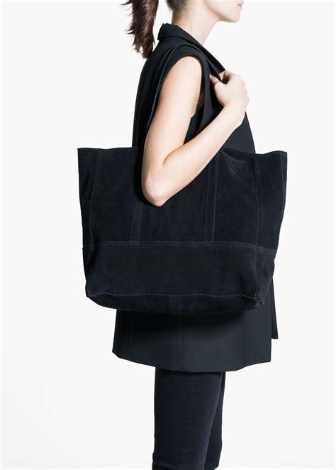 Contrast Seam Shopper Bag Mango mango suede shopper bag in black lyst