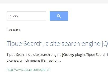 Find Site Jquery Site Search Engine Plugin Tipue Search Free Jquery Plugins