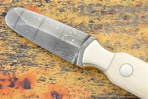 Handmade Oyster Knives - damascus ivory oyster knife custom knives by mike mcclure