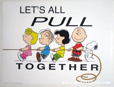 Lets All Drool Together peanuts posters peanuts pulling rope and snoopy