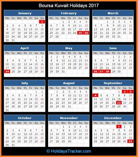 Kuwait Calend 2018 Boursa Kuwait Holidays 2017 Holidays Tracker
