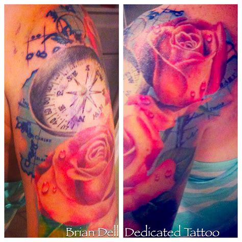 tattoo temecula realistic map compass by brian dell at