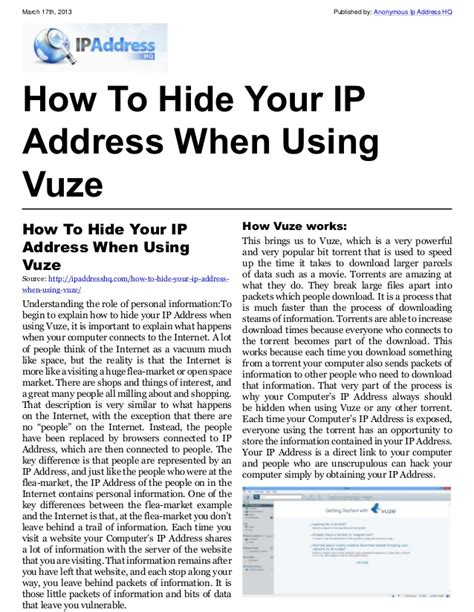 International Ip Address Lookup How To Hide Your Ip Address When Using Vuzehow To Hide Your Ip Addres