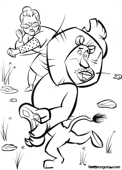 printable madagascar 2 alex and old women coloring page