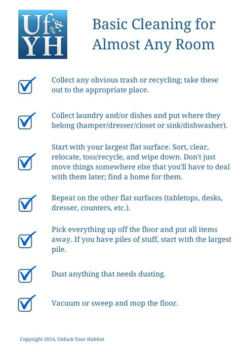 Clean Room Checklist by Unfuck Your Habitat