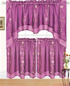 Purple Kitchen Curtains Beya Embroidered Kitchen Curtain Swag Tiers Set Purple 60x36 30x36 Ebay