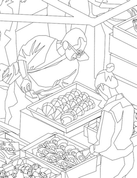 fruit market free colouring pages