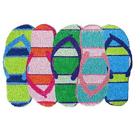 Flip Flop Bath Rug Flip Flop Shaped Door Mat In Multi Bedbathandbeyond