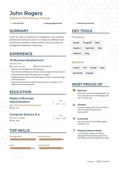 exles of resumes by enhancv projects to try