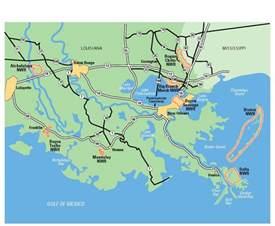 Louisiana Bayou Map by Southeast Louisiana National Wildlife Refuges Complex