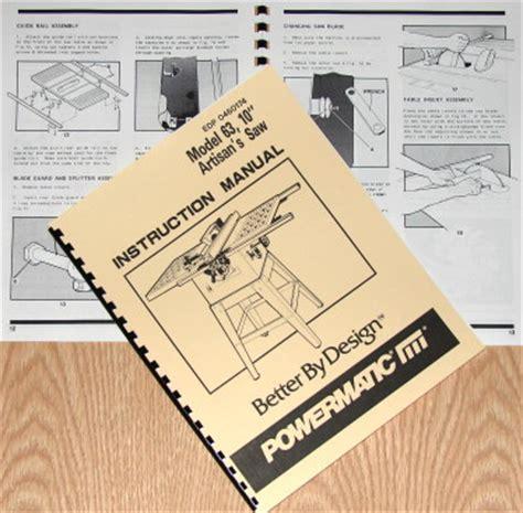 powermatic table saw model 63 powermatic 63 10 quot artisan s table saw op part manual