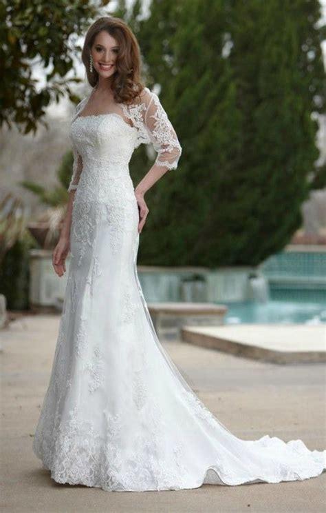 elegant lace mermaid wedding dress  older brides