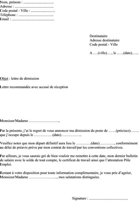Exemple De Lettre De Demission Cdi Pdf Modele Lettre De Demission Secretaire Association