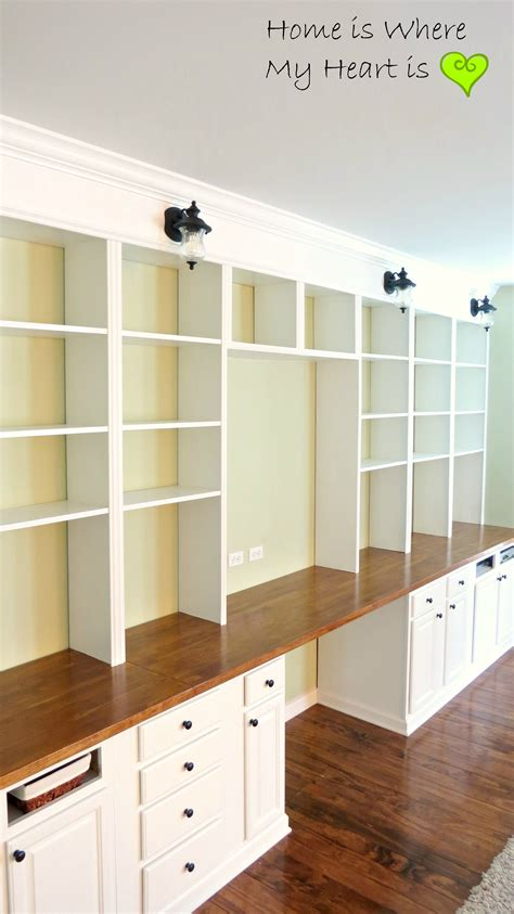 bookcases and built in desks on built in