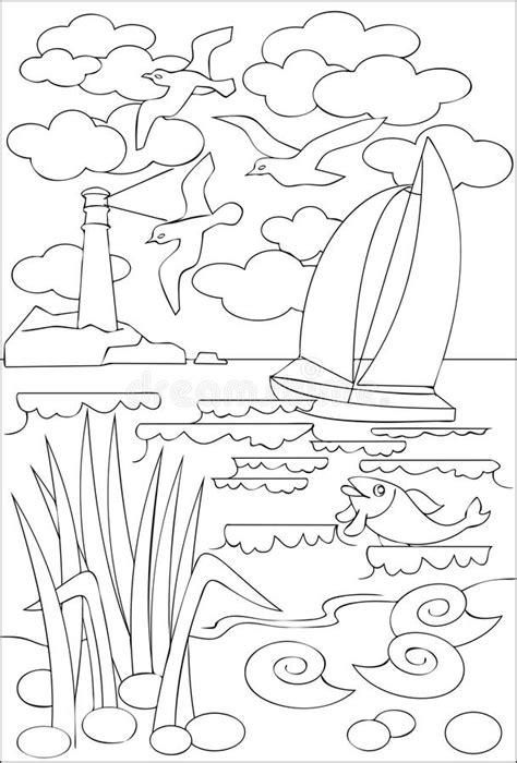 Page Avec Le Dessin Noir Et Blanc Du Paysage Marin Pour La