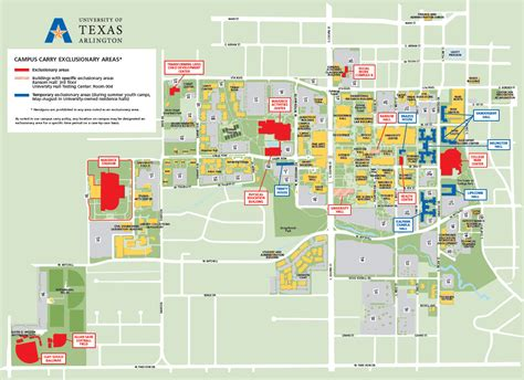 university of texas at arlington cus map cus carry exclusionary areas uta news center