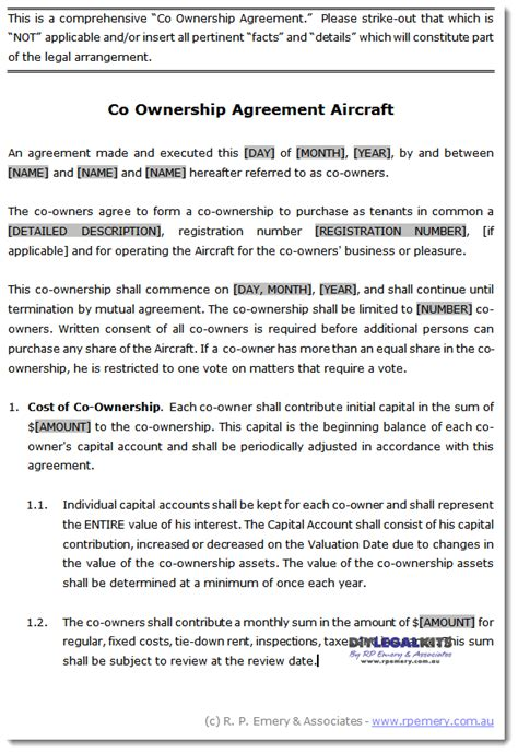 ownership agreement sample