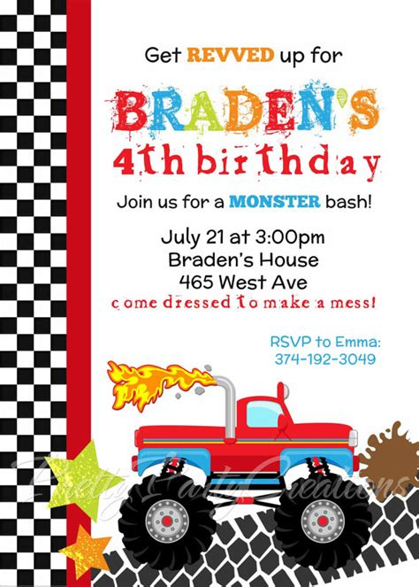 printable monster jam birthday cards monster truck invitation you print