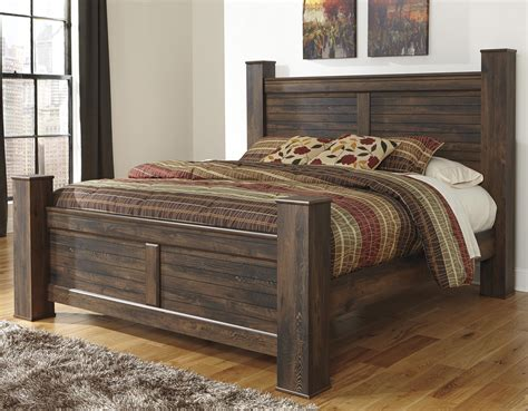 design poster beds signature design by ashley quinden rustic king poster bed