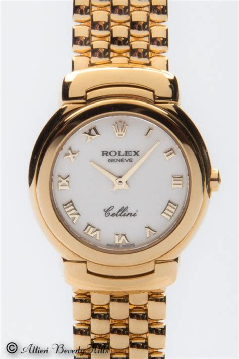 Rolex Cellini Matic 4 18k yellow gold rolex cellini bejeweled watches pin