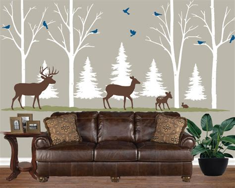 home lodge cabin decor birch tree decal forest theme