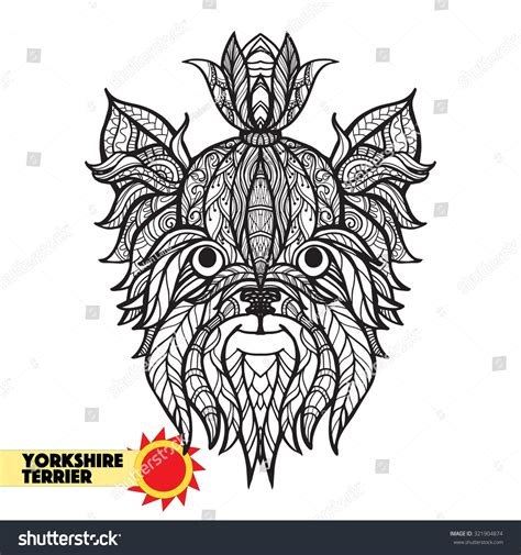 mandala tattoo yorkshire zentangle stylized yorkshire terrirer head hand stock