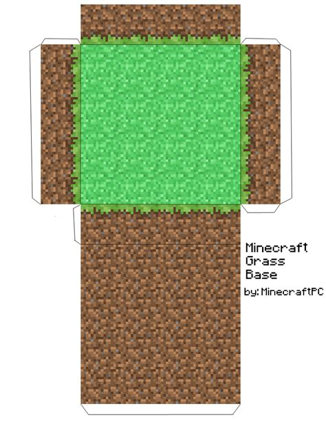 Minecraft Papercraft Big House - papercraft grass block base