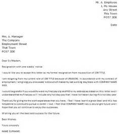 Notice Letter For Resignation by 1 Week Notice Resignation Letter Icover Org Uk
