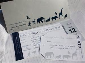 metallic silver navy blue gray zoo ticket wedding invitations emdotzee designs