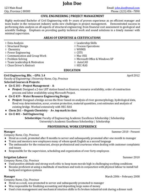 civil engineer resume sle template