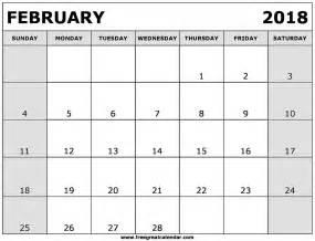 Calendar February 2018 Blank February 2018 Calendar Printable