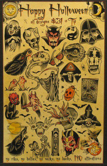 flash tattoo instructions flash 31 halloween special ink it up trad tattoos