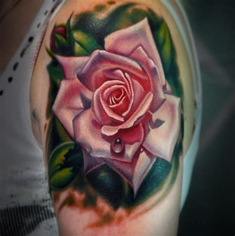 single rose tattoo single bud realistic pink