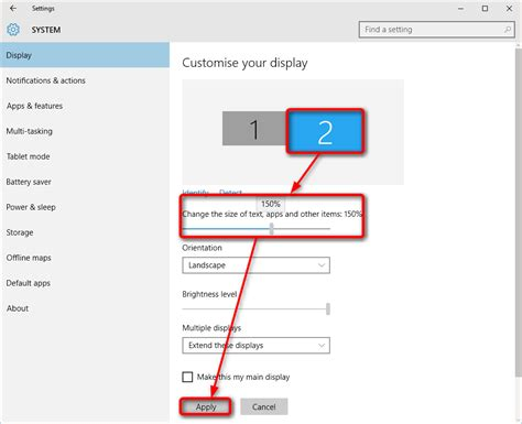 layout set view multiple displays change settings and layout in windows
