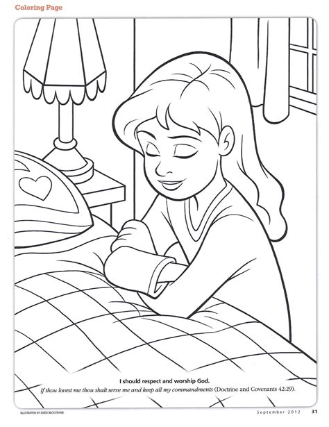 coloring page prayer happy clean living primary 3 lesson 19