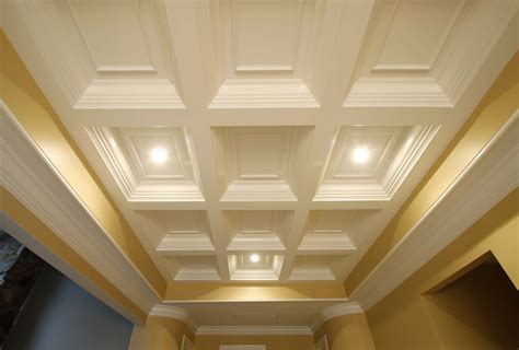 Coffered Ceiling Vs Tray Coffered Ceiling Design Ceiling Beams Coffer Ceiling